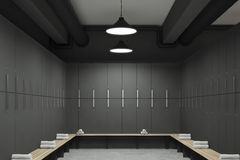 Gray locker room interior. Front view of a gray locker room with benches along the rows of lockers. There are rolled towels on them. 3d rendering Royalty Free Stock Image