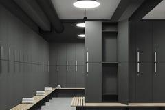 Gray locker room with open door. Front view of a gray locker room with benches along the rows of lockers. One of the lockers door is open. 3d rendering Stock Photo