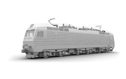 Gray locomotive 3d model on white Royalty Free Stock Images