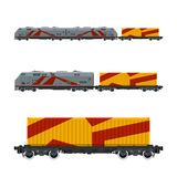 Gray Locomotive with Orange Cargo Container Stock Image