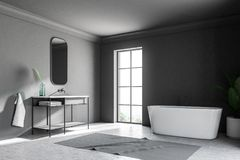 Gray loft bathroom corner, tub and sink. Corner of a gray wall loft bathroom with a concrete floor. An angular white tub is standing near the window. A potted royalty free illustration