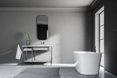 Gray loft bathroom interior, sink tub side view. Side view of a gray wall loft bathroom with a concrete floor. An angular white tub is standing near the window stock illustration