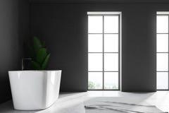 Gray loft bathroom interior, tub plant side view. White wall loft bathroom interior with a concrete floor. An angular white tub is standing near the window. A royalty free illustration