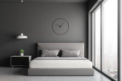 Gray loft bedroom with clock royalty free illustration