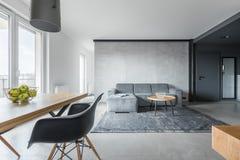 Gray loft interior. Stylish living room in gray loft interior with rustic rug stock photos