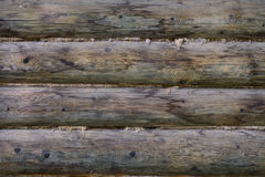 Gray log wall with linen gasket Stock Images