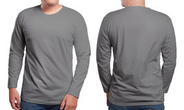 Gray Long Sleeved Shirt Design Template. Gray long sleeved t-shirt mock up, front and back view, isolated. Male model wear plain grey shirt mockup. Long sleeve stock photography