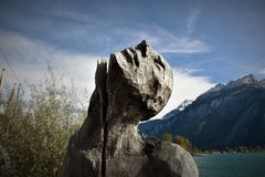 Gray Man Carved Stone Photography Stock Photo