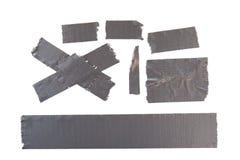 Gray Masking Tape. Set of used gray masking tape pieces Stock Photo