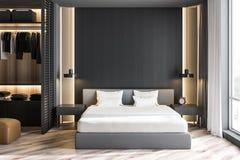 Gray master bedroom interior with wardrobe stock illustration