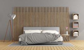 Gray master bedroom Stock Image