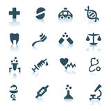Gray medicine icons on white background. 16 medicine icons with shadows royalty free illustration