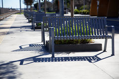 Gray metal benches light rail Royalty Free Stock Photos