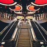 Gray Metal Escalator Stairway Royalty Free Stock Photo