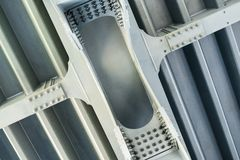 Gray metal framework. Close up. Royalty Free Stock Photos