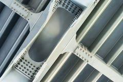 Gray metal framework. Close up. Stock Photos