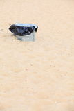 Gray metal garbage bin or can on beach Stock Image
