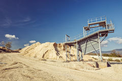 Gray metal observation building at a quarry Stock Photo