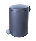 Gray Metal rubbish bin. Isolated on white background Royalty Free Stock Images