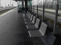 Gray metal seats Royalty Free Stock Images