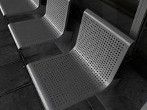 Gray metal seats Royalty Free Stock Photos