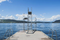 Gray Metal Swimming Pool Ladder Stock Images
