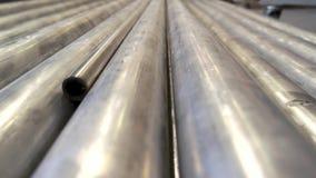 Gray metallic pipes. stock video