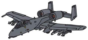 Gray military aircraft. Gray military jet aircraft, vector illustration, hand drawing Stock Image