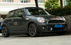 Gray mini cooper Stock Photography