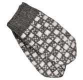 Gray mitten pair isolated, grey white textured woolen mittens pattern, knitted warm wool winter fingerless gloves detail, large Stock Photography