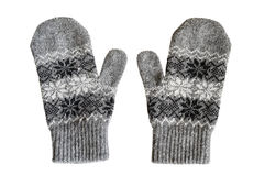 Gray mittens Stock Photography