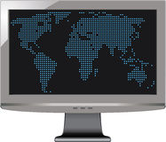 Gray monitor with world map Stock Photography