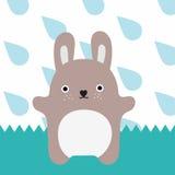 Gray monster. Little rabbit in rain time Stock Photos