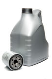 Gray Motor Oil Bottle and Engine Oil Filter Royalty Free Stock Image