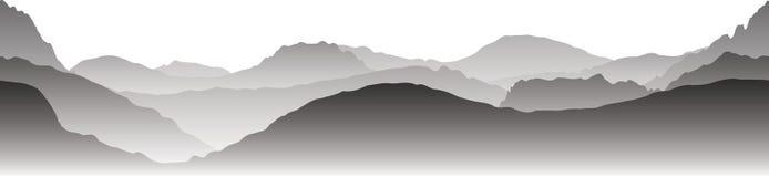 Gray mountains in the fog. Seamless vector Stock Photos