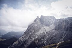 Gray Mountains Under Cloudy Sky Royalty Free Stock Photo