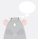 Gray mouse. Cartoon gray mouse with dialogue bubble. Vector illustration Stock Photography