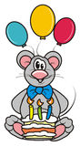 Gray mouse with cake and balloons Royalty Free Stock Image
