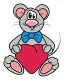 Gray mouse with heart Stock Photography