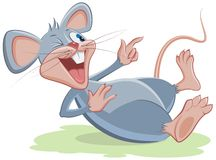 Gray mouse lies and laughs Royalty Free Stock Photos