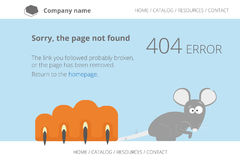 Gray mouse under cat's paw. Page not found Error Stock Photo