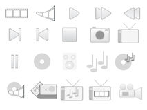 Gray multimedia icons. Vectors of gray multimedia icons royalty free illustration