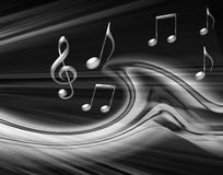 Gray Musical Background. Wit notes and music symbols Royalty Free Stock Photos
