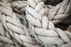 Gray nautical rope fragment, close-up background texture Stock Image