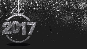 Gray 2017 New Year background. Black 2017 New Year background with silver figures. Vector illustration Stock Image