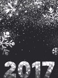 Gray 2017 New Year background. Black 2017 New Year background with silver figures. Vector illustration Royalty Free Stock Photo