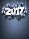 Gray 2017 New Year background. Gray 2017 New Year background with Christmas balls. Vector illustration Stock Image