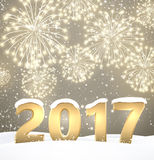 Gray 2017 New Year background. Gray 2017 New Year background with fireworks. Vector illustration Royalty Free Stock Image
