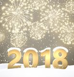 Gray 2018 New Year background. Gray 2018 New Year background with fireworks. Vector illustration Royalty Free Stock Photos