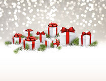 Gray New Year background with gifts. Royalty Free Stock Photo